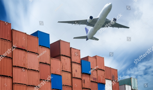 stock photo industrial port with containers and air for logistic concept 236927416
