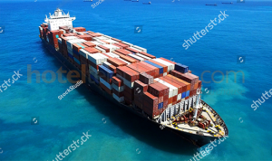 stock photo large container ship at sea aerial footage 432945115